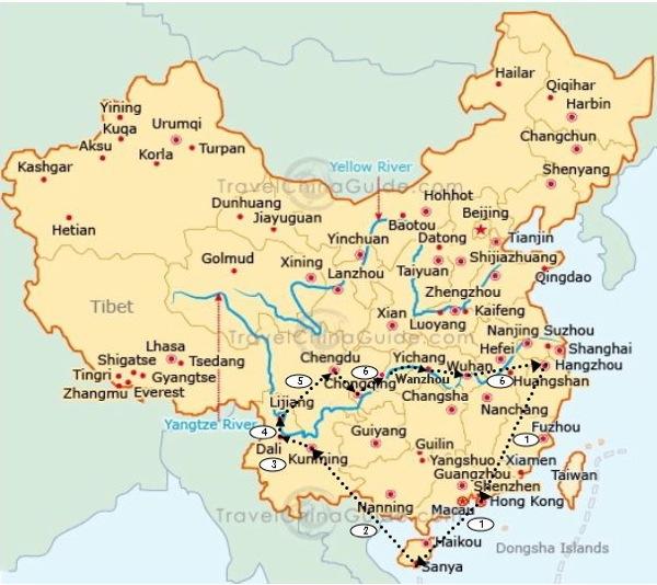 SW China map route Hangzhou Herald